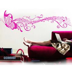 52inch abstract art butterfly----Vinyl wall decals stickers mural home decor. $32.00, via Etsy.