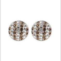 Henri Bendel Petite Brown/White Stripe Earrings