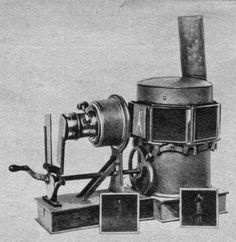 Phantascope (or Biphantascope), 1870s. Seven slides were mounted in a carousel that travelled around the lantern body intermittently