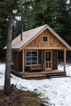 Cabin in 2019 cabins and cottages small log cabin tiny house gall Tiny Cabins, Tiny House Cabin, Log Cabin Homes, Cabins And Cottages, Tiny House Plans, Tiny House Design, Rustic Cabins, Tiny Cabin Plans, Cottage Design