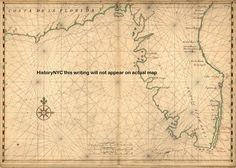 1639 LARGE HISTORIC MAP FLORIDA PENNINSULA KEY WEST