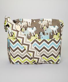 Look at this Brownie Gifts Brown Chevron & Puppy Diaper Bag on #zulily today!