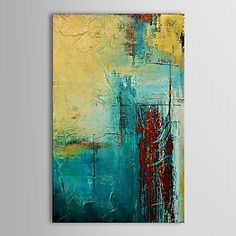 peinture à l'huile peinte peinture de mur de toile abstraite de main avec cadre étiré – EUR € 58.99