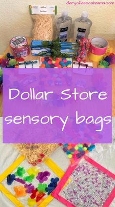 How to make cheap, easy sensory bags with things from the dollar store. Learn how to make cheap, easy sensory bags with things from the dollar store. These bags are great activities for babies, especially during tummy time. Baby Sensory Play, Sensory Activities Toddlers, Infant Activities, Diy Sensory Toys For Babies, Sensory Rooms, Baby Sensory Bags, Sensory Tubs, Sensory Wall, Toddler Activities For Daycare