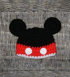 Cute Mickey mouse hat, crocheted using 100% quality acrylic yarn, it's soft, warm and comfortable, ideal to protect baby's delicate skin. Crochet buttons are securely attached. Perfect for baby shower gift, Disney trip or photo prop.