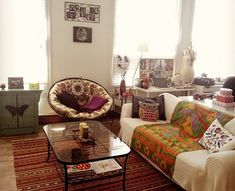 Boho chic living room...eclectic for upstairs