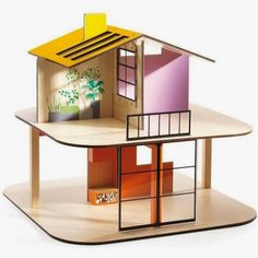 Djeco modern doll house - pitched roof Colour House - wooden dollhouse sold alone Wooden Dollhouse, Wooden Dolls, Diy Dollhouse, Dollhouse Furniture, Dollhouse Miniatures, Home Furniture, Roof Colors, House Colors, Arty Toys