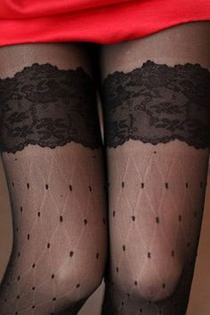 Dots Lace Pantyhose with Obscure Diamond Check OASAP.com