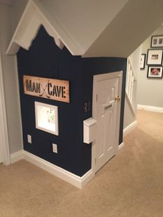 under the stairs playhouse / boy playhouse/ DIY Under Stairs Playroom, Under Stairs Playhouse, Boys Playhouse, Kids Basement, Indoor Playhouse, Build A Playhouse, Basement Stairs, Playhouse Ideas, Under The Stairs