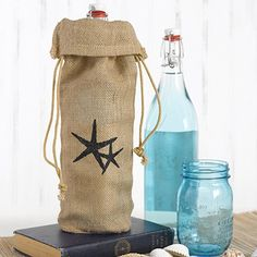 Burlap Wine Bag - Starfish