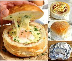 How to DIY Ham Egg&Cheese Bread Bowl tutorial -> http://www.fabartdiy.com/how-to-diy-ham-egg-cheese-bread-bowls/ #recipe, #bread, #sandwich, #diy