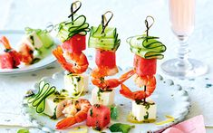 Prawn Watermelon and Fetta Skewers with Mint Oil