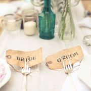 Bride and Groom fork tags in all variations to match theme- tiny details make all the difference!