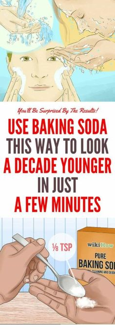 Use Baking Soda This Way to Look a Decade Younger in Just a Few Minutes - Schönheit About Baking Soda For Acne, Baking Soda Face, Baking Soda Shampoo, Baking Soda Uses, Baking Soda Nails, Younger Skin, Look Younger, Younger Looking Skin, Make Teeth Whiter