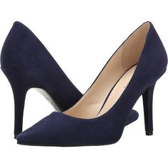 Nine West Jackpot (Navy Suede 2) High Heels ($50) ❤ liked on Polyvore featuring shoes, pumps, navy, nine west pumps, suede shoes, navy blue suede pumps, suede pumps and pointed toe high heel pumps