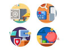 Money bank icons by Kit8 #Design Popular #Dribbble #shots