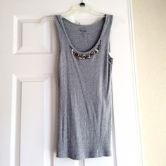 Old Navy Embellished Tank Grey tank with beading around neckline. Size Medium. 100% Cotton. Old Navy Tops Tank Tops