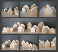 Funky little houses Crafts To Make, Crafts For Kids, Arts And Crafts, Diy Crafts, Wood Projects, Projects To Try, Craft Projects, Scrap Wood Crafts, Small Wooden House