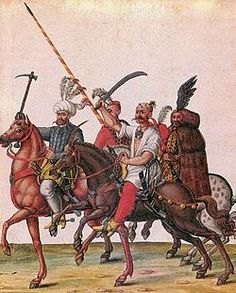 Ottoman soldiers in the territory of present-day Hungary.  The Turks plundered and laid waste to Hungary for decades.  Ferenc Nadasdy Bathory held them at bay, but developed some rather brutal tortures which he may have shared with his wife.