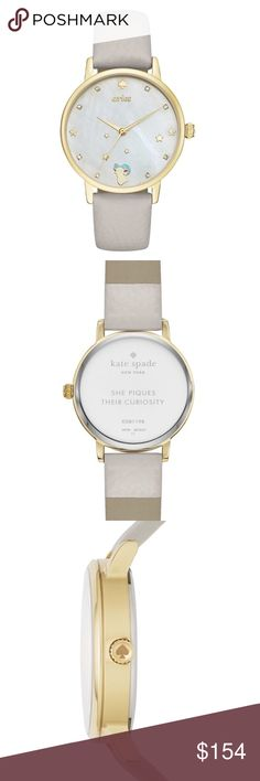 Kate Spade Aries Grey Leather Metro Women's Watch Kate Spade Aries Grey Leather And Gold-Tone Metro Women's Watch KSW1198  Item# 273017490399  100% Authentic Kate Spade!  Buy with confidence!  • MSRP: $195.00  • Style: KSW1198  Description:  It's written in the stars: If you're an Aries, you'll adore the kate spade new york metro watch, featuring a gold-tone case and luggage leather strap. The white mother-of-pearl dial is accented with sparkling crystals, golden stars and a petite ram at…