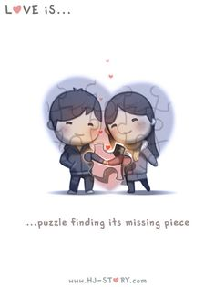 """Find and save images from the """"Love is. 💓 HJ story 💏"""" collection by HoàiLinh (HoaiLjnh) on We Heart It, your everyday app to get lost in what you love. Hj Story, Cute Love Stories, Love Story, Cute Love Cartoons, Missing Piece, Lovey Dovey, Cute Comics, What Is Love, Cute Quotes"""