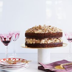 This decadent chocolate cake is layered with sweet coconut-pecan frosting.