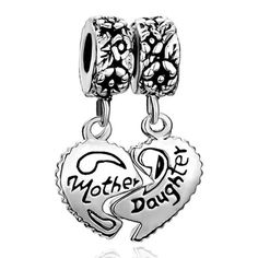Pugster Heart Mother & Daughter Beads Fit Pandora Chamilia Biagi Charm Bracelet | Your #1 Source for Jewelry and Accessories