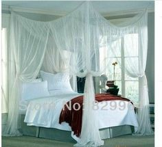 Four Corner Point Bug Insect Mosquito Net,Large Bed Canopy,Multiple color choices,Space large netssize:190cm Wx 210cm Lx 240cmH € 23,63