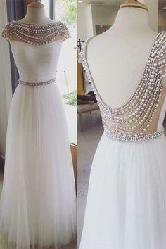 Elegant Cap Sleeves White Beading Backless Prom Evening Dresses,beaded prom dresses, white evening dresses, homecoming dresses