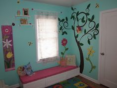 Girly Garden Room- This is the window/decor wall from our girls' room makeover!