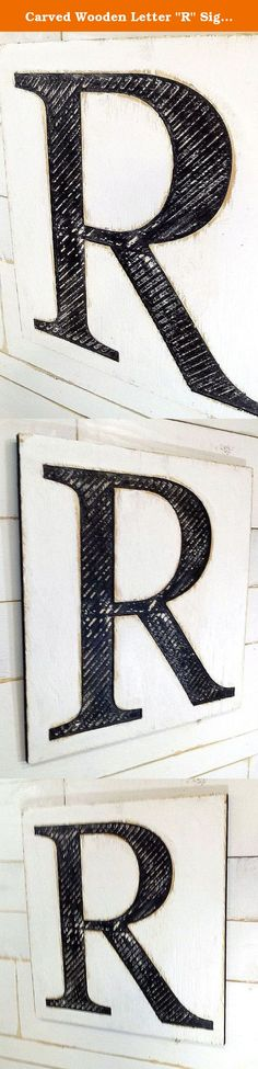 """Carved Wooden Letter """"R"""" Sign 24"""" tall by 18"""" wide - A B C D E F G H I J K L M N O P Q R S T U V W X Y Z Wood Fixer Sign Times New Roman. Carved Wooden Letter """"R"""" Sign 24"""" tall by 18"""" wide. Carved in 5/8"""" thick Pine Plywood and Distressed. If you need a different letter, just put it in the check-out notes. The height will stay the same but the width will vary slightly for different letters. Convo me if you need a change in color from the black and white. Wired and Ready to Hang. I stay on..."""