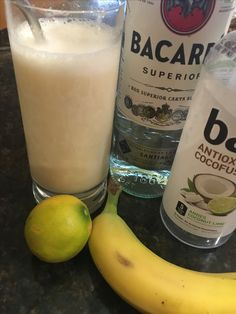 Tropical Rum Smoothie The perfect drink to have poolside. Blend Bai coconut lime, rum, lime juice and a banana. Delish!!