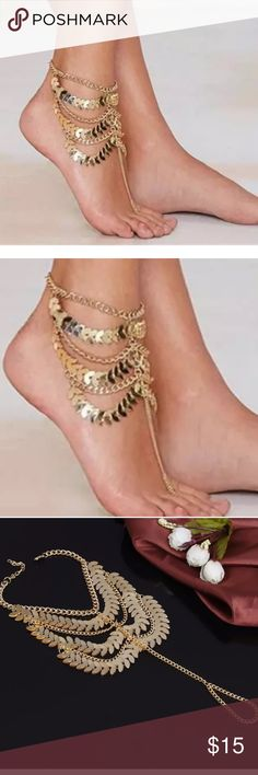 💲 New ️Gold Plated Gypsy Jewelry Sandal anklet ❗️new in package❗️Onesize: fits all (adjustable links)-metal: gold plated metal-1 pc jewelry Boutique Jewelry
