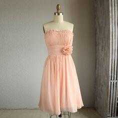 Wedding dress , chiffon party dress, bridesmaid dress, formal dress in Blush  (B002)