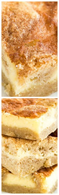 Snickerdoodle Cheesecake Bars ~ The best of both worlds with a creamy cheesecake top and a soft cinnamon-sugary snickerdoodle cookie bottom.