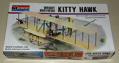 Vintage Wright Brothers Kitty Hawk Plastic Airplane Model Kit by Monogram, Made in USA, Copyright 1973.