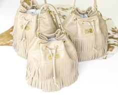 FRINGE bucket bags in cappucino - with a new label's style - by Annamaria Pap [handmade items]
