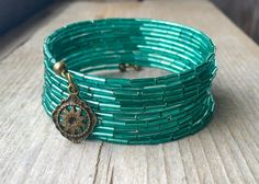 SALE Terrific Teal Multi Strand Memory Wire Wrap Bracelet With