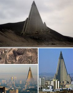 The Ryugyong Hotel in Pyongyang, North Korea. The building, meant to be a core monument to the strength of North Korea, was added to city maps and stamps before it was even half-built and was all set to be the tallest hotel in the world. At first the project simply ran out of funding, then as the low-quality concrete of which it was built began to sag and crack the sobering reality began to set it: the structure would need a massive overhaul to ever be completed.