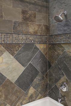 Simple shower design using all natural slate tiles.  #thetileshop #slate