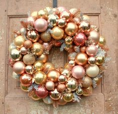 Ornament wreath, Rose gold Christmas wreath by thepaisleymoon on Etsy