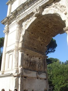 Roman Triumphal Arch of Titus with ornamental keystone - 82AD - Imperial Period - concrete and marble - Rome Italy
