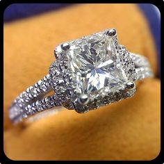 Made in NYC - Couture-0381P with a Princess cut diamond.