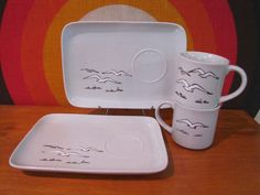 Vintage Snack Set with Seagulls, Otagiri Japan, Mug and Matching Plate, Flying Gulls, Stoneware Mug and Plate Set, 1970s, Hostess Gift by CapeCodModern on Etsy