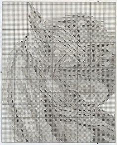 GRAFICOS PUNTO DE CRUZ GRATIS : CABALLOS(36)white horse head