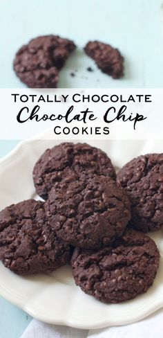 Totally Chocolate Chocolate Chip Cookies. Adapted from Nigella Lawson | eatlittlebird.com