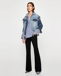 zara STRIPED SHIRT WITH FAUX PEARL w THE VINTAGE DENIM JACKET