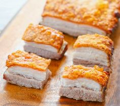 This is the best pork belly recipe I've made. The pork skin is incredibly crispy, perfectly golden, and the prep work is very minimal compared to all the other pork bellies I've made. No need to score or puncture holes in the skin. Pork Belly Recipe Oven, Chinese Pork Belly Recipe, Pork Belly Recipes, Pork Roast Recipes, Rib Recipes, Barbecue Recipes, Dinner Recipes, Charcuterie, Pork Belly Strips