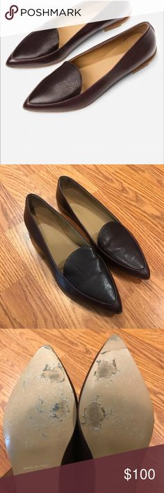 Everlane Burgundy Modern Loafer Pre-Loved and good condition. Small scuffs along sides and toe (see pics). Can only be seen from the ground. Size 8.5 Everlane Shoes Flats & Loafers