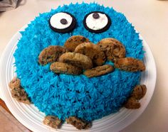 Cookie monster birthday cake. Carrot cake centre & cream cheese icing. Oreos used for eyes